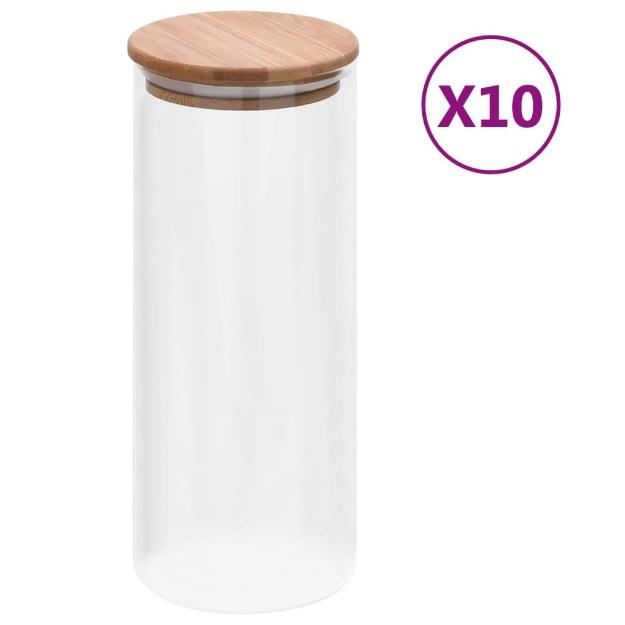 Barattoli di Vetro con Coperchio in Bambù 10 pz 1000 ml