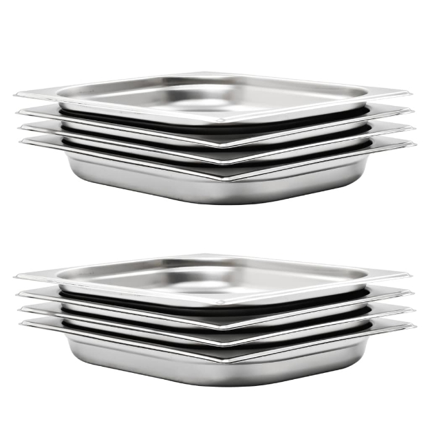 Contenitori Gastronorm 8 pz GN 1/2 40 mm in Acciaio Inox