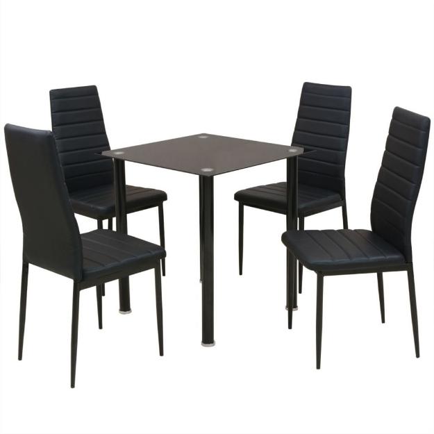 Set Tavolo e Sedie da Pranzo 5 pz Nero