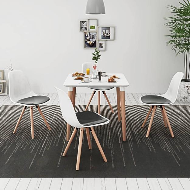 5 Pz Set Tavolo e Sedie Sala da Pranzo Bianco e Nero