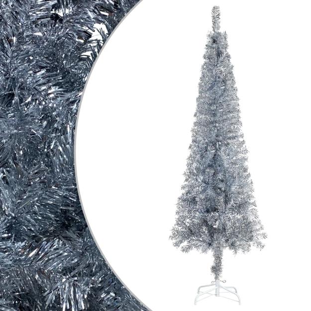 Albero di Natale Sottile Argento 240 cm