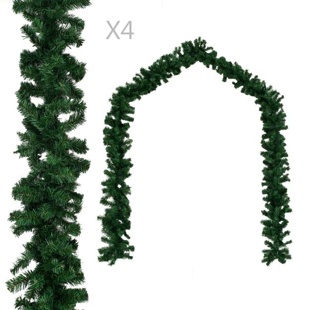 Ghirlande Natalizie 4 pz Verde 270 cm PVC