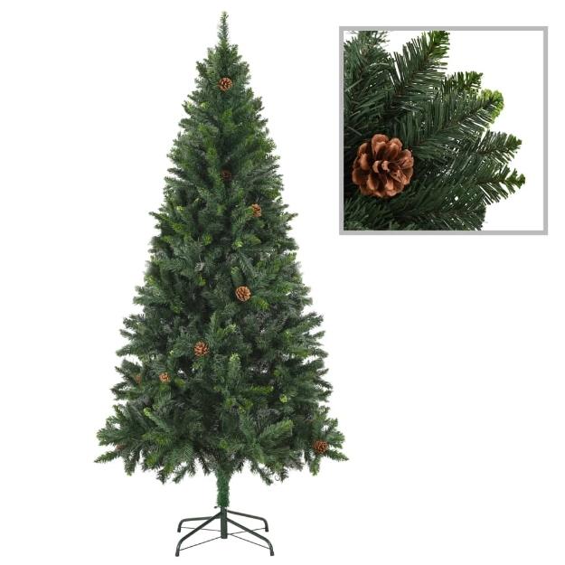 Albero di Natale Artificiale con Pigne Verde 180 cm