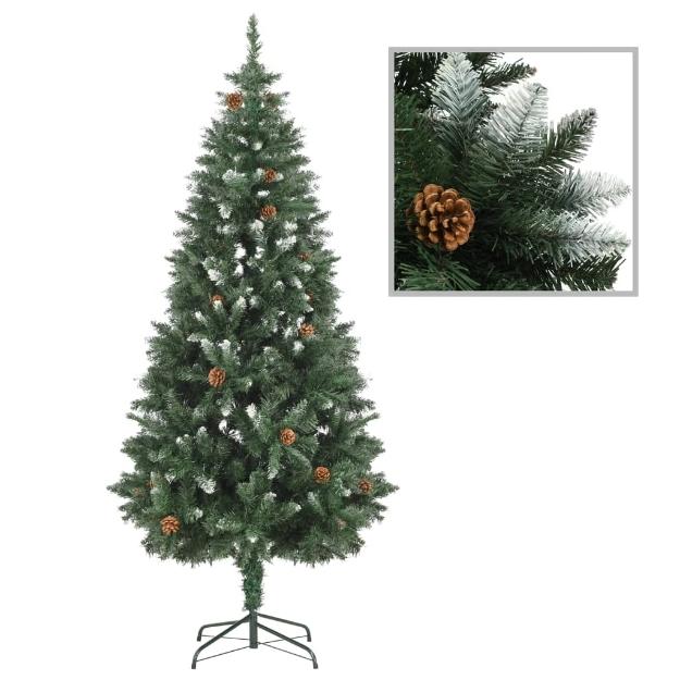 Albero di Natale Artificiale Pigne e Brillantini Bianchi 180 cm