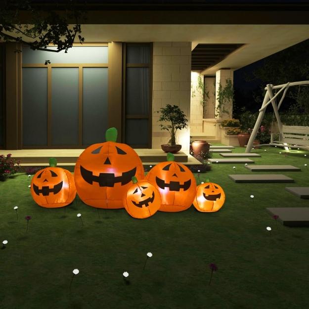 Famiglia di Zucche Gonfiabili per Halloween con LED 1,8 m
