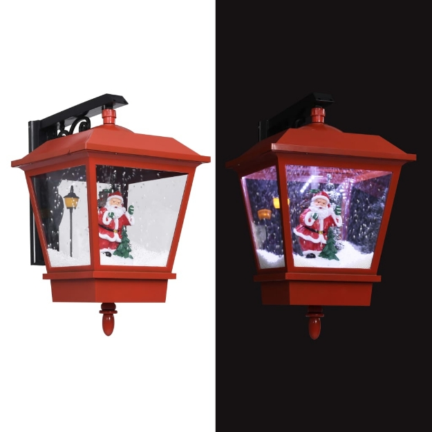 Lampada Natalizia da Parete LED e Babbo Natale Rossa 40x27x45cm
