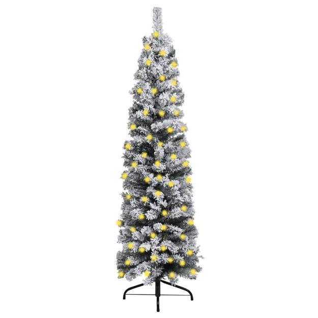 Albero di Natale Artificiale Sottile LED Neve Verde 150 cm PVC