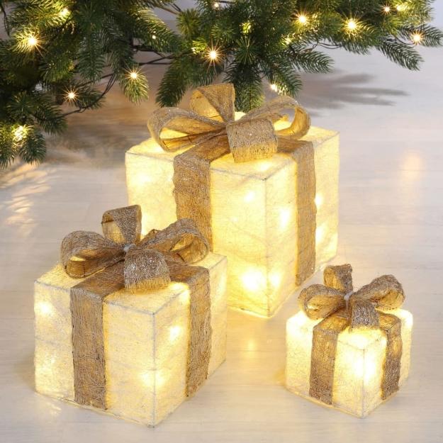 HI Decorazioni Scatole Regalo di Natale 3 pz con LED e Nastri Dorati