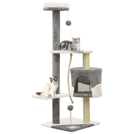 Albero per Gatti con Tiragraffi in Sisal Grigio e Bianco 120 cm