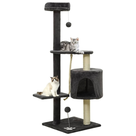 Albero per Gatti con Tiragraffi in Sisal Grigio Scuro 120 cm